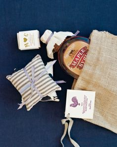 Fragrant Favors-Burlap favor bags contained goat's milk soap and lavender sachets that meghan found on Etsy, and maple syrup from the farm's sugarhouse