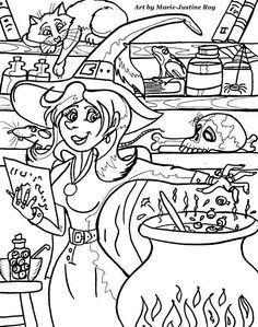 Halloween Witch Art By Marie Justine Roy Lineart Illustrator And Artist