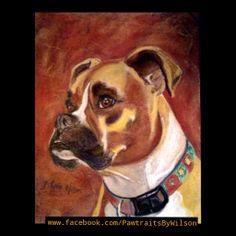"""""""Pawtrait"""" of Maggie the boxer; Custom pet portraits that benefit rescue orgs www.Facebook.com/PawtraitsByWilson"""