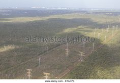 Electricity pylons near Cancun International Airport - Stock Image