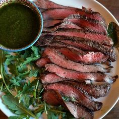 Grilled Flank Steak with Green Herb Vinaigrette