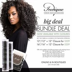 "Big Deal Bundle Deal starts now!    Enjoy our limited edition 4x4 closures paired with your favorite SEA Collection textures:     Bali Straight 2 Piece Bundle Deal + Natural Straight Closure: 12"" / 12"" + 12"" (4x4) Closure for $229  Bali Straight 2 Piece Bundle Deal + Natural Straight Closure: 16"" / 16"" + 12"" (4x4) Closure for $259  Sumatra Wave 2 Piece Bundle Deal + Natural Wavy Closure: 12"" / 12"" + 12"" (4x4) Closure for $229  Sumatra Wave 2 Piece Bundle Deal + Natural Wavy Closure: 16""…"