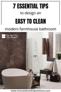 These laminate waterproof wall panels would look stunning in any bathroom wanting to create that modern farmhouse look! Check out how to design one here Bathroom Trends, Bathroom Sets, Large Bathrooms, Small Bathroom, Waterproof Shower Wall Panels, Innovation, Large Tub, Modern Farmhouse Bathroom, Bathroom Curtains