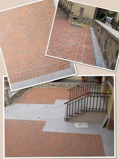 Piazzale Privato in mattoni in argilla naturale al 100%,  carrabili e ingelivi. #Pavimento in #cotto