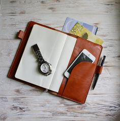 Perfect protection for your Moleskine - it's our leather planner cover in caramel brown