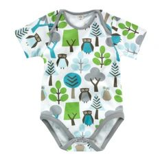 DwellStudio Baby Organic Owls Sky Boy's Short Sleeved Bodysuit .... i have a thing for woodland creatures on baby clothes