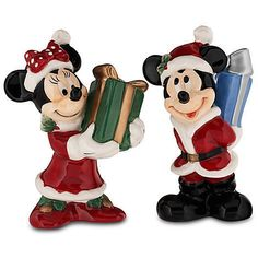 Disney Parks Exclusive Mickey & Minnie Mouse as Santa's Helpers Exchanging Gifts. Mickey has silver glaze accents Minnie has golden glaze accents. Mickey Christmas, A Christmas Story, Christmas Holiday, White Christmas, Christmas Trees, Christmas Decor, Christmas Ornaments, Mickey Mouse, Disney Mickey
