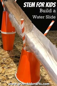 STEM for Kids Building a Water Slide Did you have fun with our Build a Swimming Pool STEM activity? Here's a water slide to go with it! Kids can challenge themselves to build a waterslide or their little toys to slide down into the pool to cool off this s Steam Activities, Science Activities For Kids, Stem Science, Science Experiments, Science Crafts, Summer School Activities, Physical Science, Science Classroom, Earth Science
