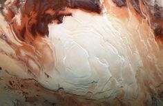 Mars' south polar ice cap from above.