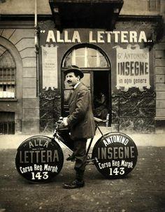 <3  Unusual Italian bicycle adorned advertisement effort.