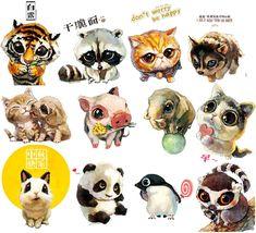 Милые иллюстрации ^^ Автор: Xue Wawa - необычный художник-анималист из Китая