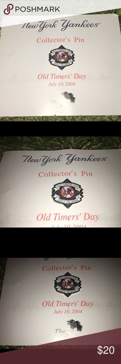 NY Yankees Old Timers Day collectors pin NEW Thank you for viewing my listing, for sale is a rare, New York Yankees collectors pin, commemorating old-timers day from July 10, 2004. The pin is brand new, has never been taken off the postcard it was given in, if you have any questions or would like additional photos please feel free to ask. MLB Accessories