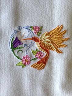 Embroidered hummingbird kitchen towel yellow by LuvHooURDesigns