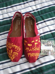 I would be the Harry Potter nerd with these awesome TOMS! Harry Potter Toms, Hand Painted Toms, Painted Shoes, Mischief Managed, Actors, Me Too Shoes, Tom Shoes, Shoes Men, Style Me