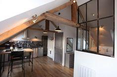 Loft in an attic Attic Spaces, Tiny Spaces, Small Attic Bathroom, Interior Architecture, Interior Design, Modern Rustic Decor, Loft Studio, Interior Windows, Small Space Living