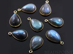 Natural Labradorite Bezel Pear Drops 24K Gold by Beadspoint, $8.99