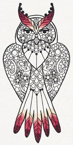 Delicate patterns are accented by painterly feather tufts in this alluring owl design.