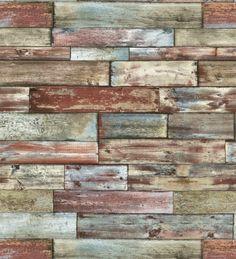 Papel pintado imitación madera multicolor estilo shabby chic - 40615