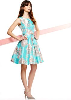 ideeli | JESSICA HOWARD Sleeveless Pleated Neck Dress with Belt