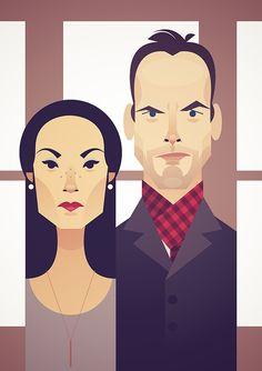 """Sherlock Holmes (Jonny Lee Miller) and Doctor Joan Watson (Lucy Liu) """"Elementary"""""""