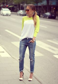 Jeans and neon.