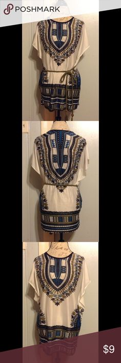 """White & Teal Indian Inspired Wing Dress/Top SIZE M. 26"""" Length. Light White Short Sleeve w/ Moss Green, Ocean Blue, & Black Colors. Indian Inspired Detail In Center & Both Sides. Bottom 7.5"""" Horizontal Design. 3"""" Side Wing Attachments. Good Condition WORN ONCE Dresses Mini"""