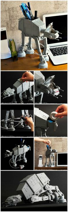 "The AT-AT Multi Stand is a 10"" tall, highly detailed and poseable desk caddy that comes with a cable organizer that wraps the cable around its legs."