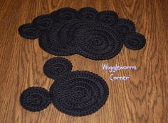 Crocheted Mickey Mouse Coaster Pattern. I would actually enlarge this into a rug for my boy