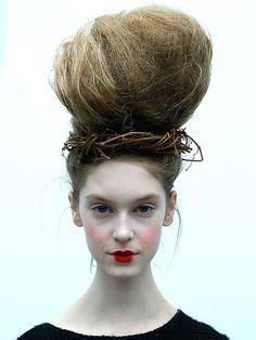 Bird's Nest: Fashion Week Hair & Makeup Looks That Scare Us - iVillage #wtffashion #fashionweek #NYFW