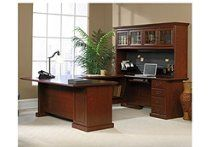 Sauder Office Furniture Heritage Hill Collection Classic Cherry Executive U-Desk with Hutch