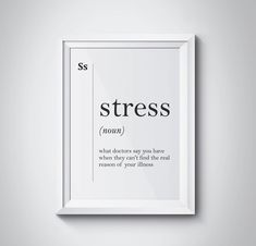 Stress Funny Definition Print Gift for Doctor Hospital Wall Art Funny Definition Print Scandinavian Minimalist Office Decor Psychology Gift by HQstudio on Etsy One Word Quotes, Peace Quotes, Change Quotes, Funny Definition, Stress Funny, Mom Quotes From Daughter, Period Humor, Optimism, Humor