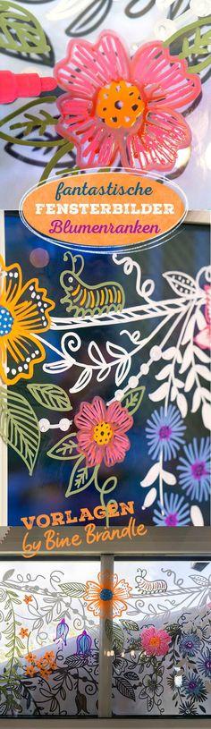 Vorlagenmappe Sonnentage & Blütenträume: Tolle DIY-Idee ganz einfach zum Abpausen und Malen! Mit Hilfe der Vorlagen fantastische Blüten und Ranken mit einem Kreidemarker kunstvoll zur Deko auf das Fenster malen.
