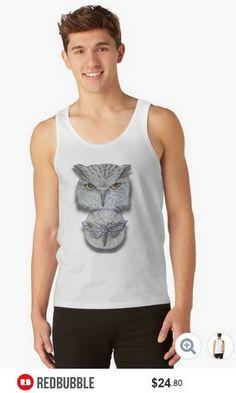 'Watchful Eye of Time' Owl Moth Unisex Tank Top #artbyurte