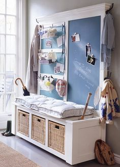 Entryway Designs and Foyer Decorating Ideas Blending Functionality with Stylish Look entryway bench with storage basketsentryway bench with storage baskets Hallway Storage, Entryway Organization, Entryway Bench, Organized Entryway, Entryway Ideas, Mudroom Organizer, Closet Storage, Diy Storage, Storage Ideas
