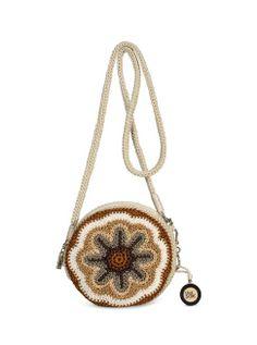 A fun crochet motif cross-body bag (The Sak Classic Mini Convertible Round Crossbody in Driftwood) Crochet Cross, Crochet Motif, Hand Crochet, Crochet Flowers, Knit Crochet, Crochet Purses, Crochet Bags, The Sak Handbags, Classic Mini