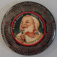 icollect247.com Online Vintage Antiques and Collectables - FANTASTIC 1909 GILLETTE RAZOR ADVERTISING POCKET MIRROR MINT