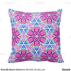 Butterfly Hearts Pattern Throw Pillow