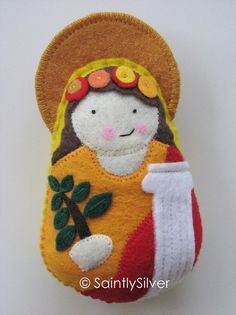 "SaintlySilver Etsy shop. Original seller of ""Saint Softies"" on etsy. Felt Saint dolls!"