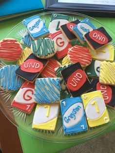 First Birthday Uno Theme Sugar Cookies