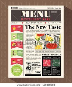 Restaurant Menu Design Template in Newspaper style by kraphix, via Shutterstock