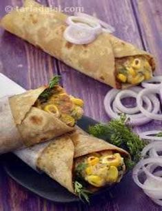 Potato and Corn Rolls recipe, aloo corn rolls, Makai frankie recipe The kathi roll is a boon to Indians! We can think of it as the desi answer to sandwiches, wraps , rolls and other convenient o Sweet Potato Recipes Healthy, Veg Recipes, Indian Food Recipes, Vegetarian Recipes, Cooking Recipes, Healthy Recipes, Aloo Recipes, Paratha Recipes, Pancake