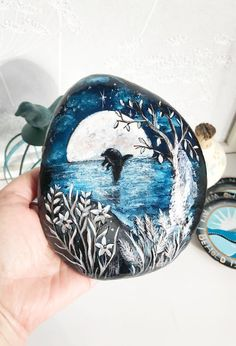 Dolphin in the Silver Moonlight painted rock by Christine Onward - ROCK ART Pebble Painting, Hand Painting Art, Pebble Art, Stone Painting, House Painting, Stone Crafts, Rock Crafts, Moonlight Painting, Rock Painting Designs