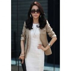 $15.60 Stylish Slimming Solid Color and Single Breasted Design Cotton Blended Blazer For Women