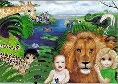 Big Eyed Children in Jungle with Zoo animals