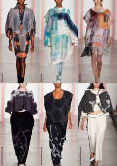Parsons The New School for Design S/S 2014-Digital Mosaic Prints – Mesh & Halftone Effects – Translucent Overlaid Prints – Multiple Prints – Abstract Check and Plaid formations – Over...