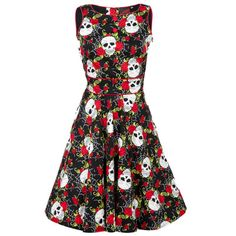 Schedels met rozen en spinnenwebben jurk zwart/rood - Halloween