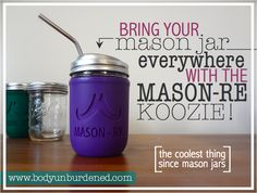 I am so in love with this mason jar koozie! Made from sustainable, non-toxic silicone it instantly transforms a regular mason jar into a perfect travel mug, water bottle, or food container! + get 15% off until 9/30/14