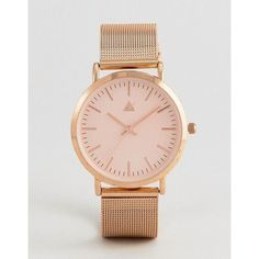 ASOS Rose Gold Clean Mesh Strap Watch (€27) ❤ liked on Polyvore featuring jewelry, watches, copper, asos watches, rose gold wrist watch, pin jewelry, asos jewellery and asos