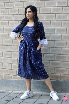 Ikat blue Fit and Flare dress with folded umbrella motif handembroidery on pockets and vintage frill on sleeves Simple Frock Design, Long Dress Design, Simple Kurti Designs, Kurta Designs Women, Stylish Dresses For Girls, Stylish Dress Designs, Casual Dresses, Cotton Dress Indian, Cotton Dresses