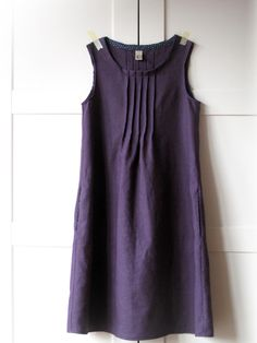 sleeveless linen dress - aubergine